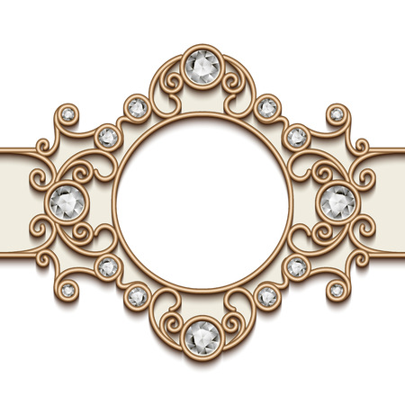 label design: Vintage gold background, diamond vignette, swirly jewelry frame