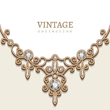 Jahrgang Hintergrund mit Gold-Vignette auf weißem Hintergrund, Schmuck Dekoration, filigrane Diamant-Halskette, elegante Grußkarte auf Einladungsschablone