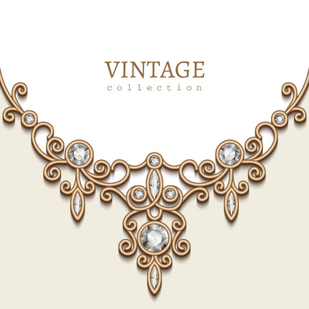 Vintage background with gold vignette on white background, jewellery decoration, filigree diamond necklace, elegant greeting card on invitation template Banco de Imagens - 44166423