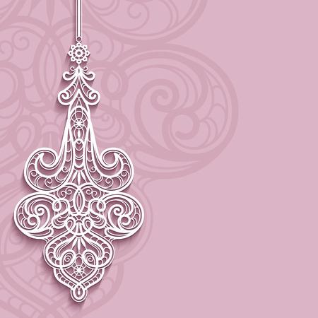 encaje: Colgante elegante del cord�n en el fondo ornamental de color rosa, decoraci�n de plumas de encaje, tarjeta de felicitaci�n, invitaci�n de la boda o la plantilla anuncio