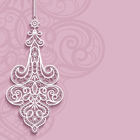 Elegant lace pendant on ornamental pink background, lacy feather decoration, greeting card, wedding invitation or announcement template. Stock Photo