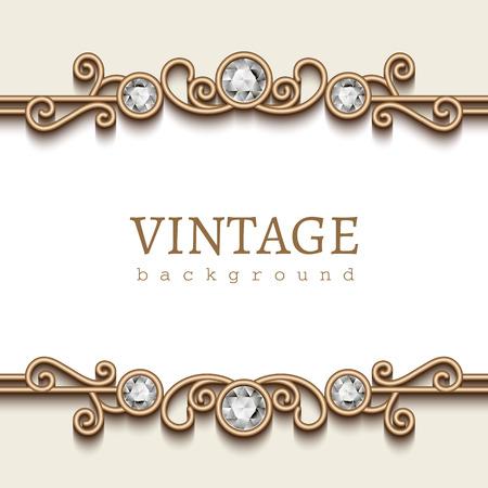 Uitstekend gouden frame op wit, divider element, elegante achtergrond met juwelen grenzen Stock Illustratie