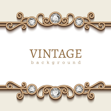 Vintage gold frame on white, divider element, elegant background with jewelry borders Vettoriali