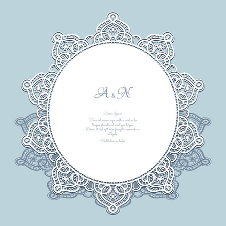 vintage border: Round paper lace frame, lacy doily, greeting card or wedding invitation template