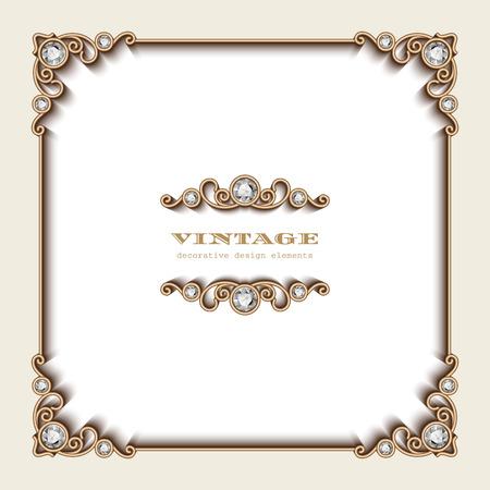 vintage: Vintage fond d'or, cadre carrée bijoux sur blanc Illustration