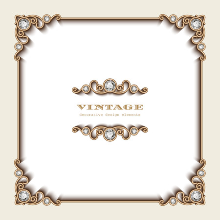 vintage frame: Vintage gold background, square jewelry frame on white