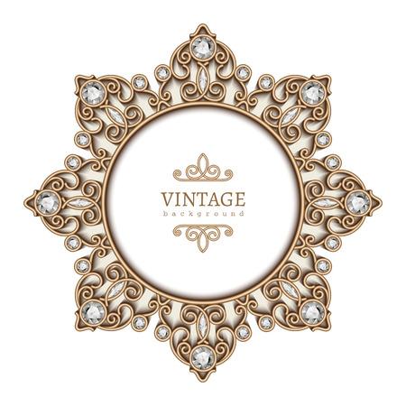Vintage gold background, diamond vignette, circle jewelry frame template Illustration