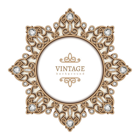 Vintage gold background, diamond vignette, circle jewelry frame template Ilustracja