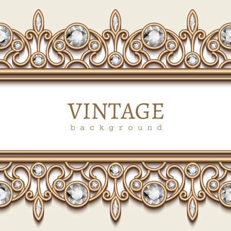 fashion jewellery: Vintage gold frame with jewelry borders on white background
