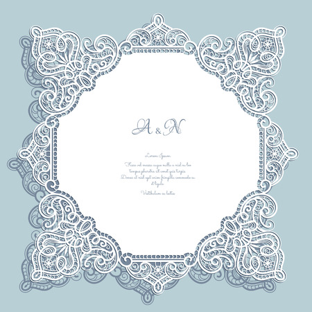 vintage lace: Cutout paper lace, square frame, greeting card or wedding invitation template