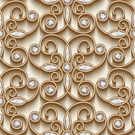 arabesco: Ornamento de oro de la vendimia, joyería de patrón con diamantes