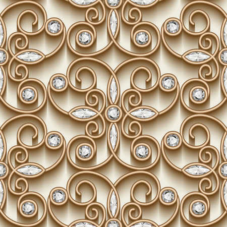 jewelries: Vintage gold ornament, jewelry seamless pattern with diamonds
