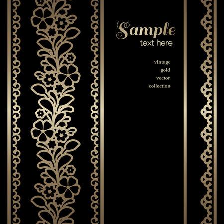 vertical dividers: Vintage gold background, ornamental frame with golden borders on black Illustration