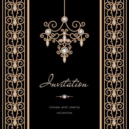 diamante negro: Marco del oro del vintage, plantilla de la invitación con las fronteras joyería en fondo negro