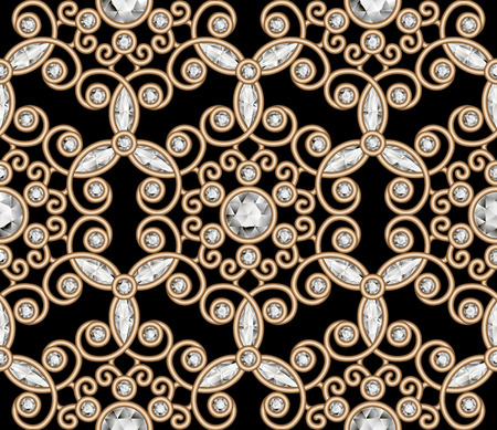 Vintage gold diamond ornament, jewelry seamless pattern, elegant jewellery texture Illustration