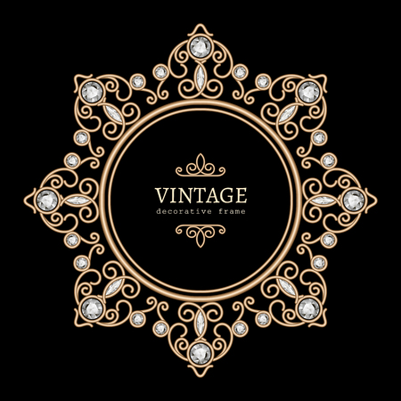 marcos redondos: Collar vintage joyas de oro, marco redondo, viñeta de joyas con diamantes en negro Vectores