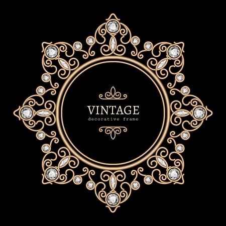 Vintage gold jewelry necklace, round frame, jewellery vignette with diamonds on black Illustration