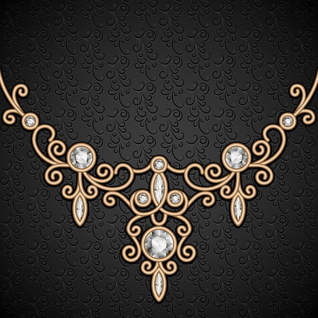 diamond necklace: Vintage gold background with jewelry diamond necklace, elegant jewellery decoration