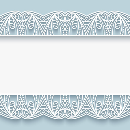 elegant background: Elegant background with cutout paper lace borders, greeting card or wedding invitation template Illustration