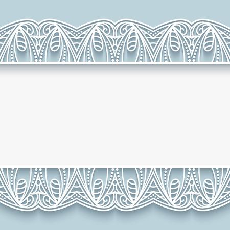fondo elegante: Fondo elegante con bordes de encaje recorte de papel, tarjetas de felicitación o plantilla de la invitación de la boda