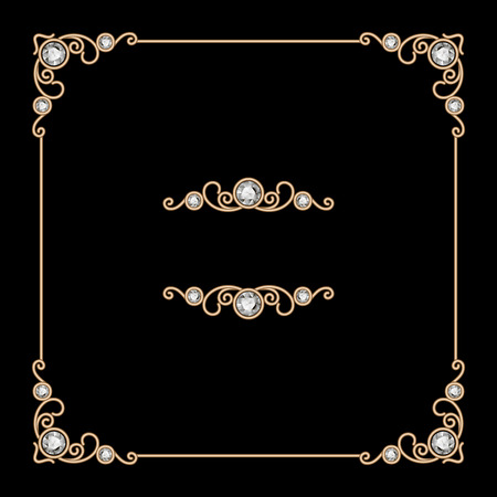 Vintage gold square jewelry frame on black background