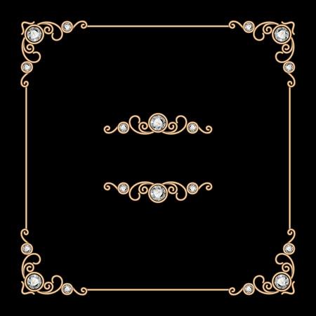 Vintage gold square jewelry frame on black background