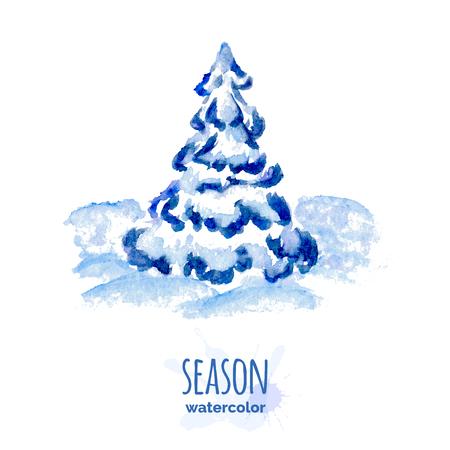 winter tree: Hand painted watercolor winter tree, snowy spruce, seasonal illustration Illustration