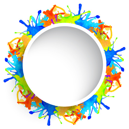 modern frame: Abstract colorful blots, round watercolor frame on white Illustration