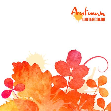 Autumn leaves, watercolor foliage background Illustration