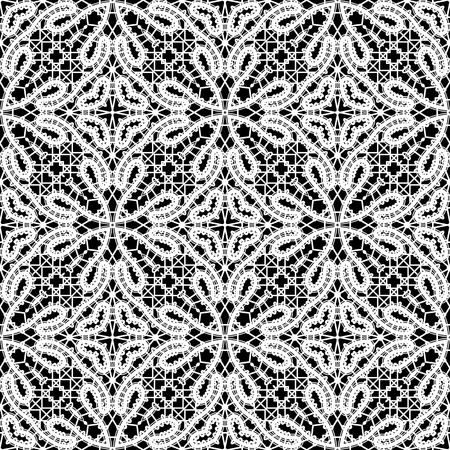 russian: Black and white lacy ornament, handmade tatting lace texture, seamless pattern