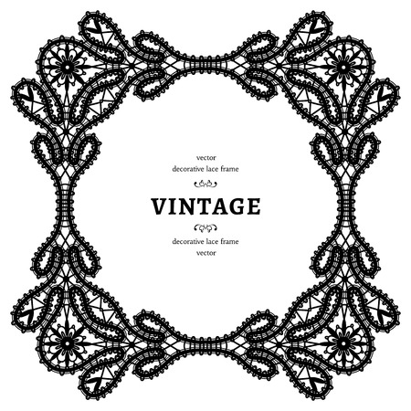 tatting: Square lace frame, black and white square lace ornament, tatting lace decoration, vintage embellishment in retro style Illustration