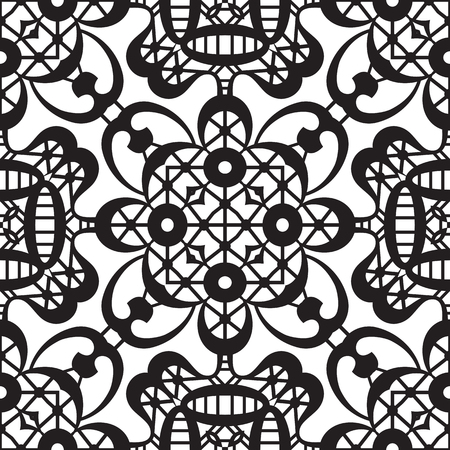 lacework: Black and white background, lace texture, black and white lacy ornament, openwork, seamless pattern Illustration
