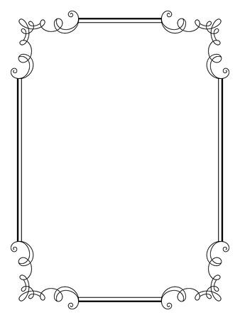 빈티지 서예 프레임, 복고 스타일의 장식 디자인 요소, 소용돌이, 인증서, 초대 간단한 사각형 프레임은 흰색 치장 스크롤 일러스트