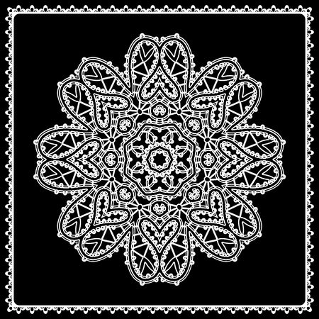 black circle: Black and white round lace ornament, lacework, openwork, lace doily, decorative circle element in square frame Illustration
