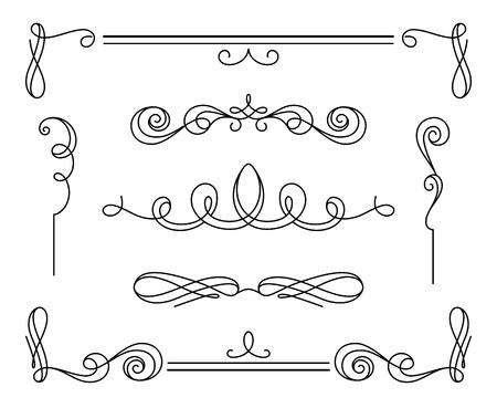 Vintage kalligrafische vignetten en verdelers, set van decoratieve elementen in retro-stijl, eenvoudig wervelingen, scroll versiering op wit