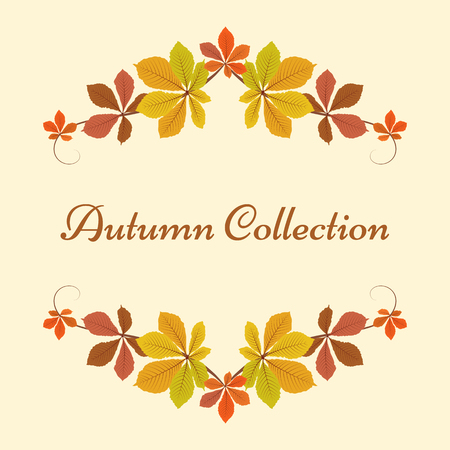Autumn background, decorative frame with colorful chestnut leaves, yellow leaves, autumn leaves, seasonal background Ilustração