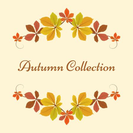 Herfst achtergrond, decoratieve frame met kleurrijke kastanje bladeren, gele bladeren, herfst bladeren, seizoensgebonden achtergrond Stock Illustratie
