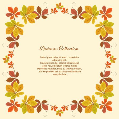 추상 가을 배경, 노란색 밤나무 잎 사각형 프레임, 단풍, 계절 배경 일러스트