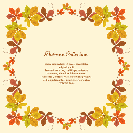 Abstract autumn background, square frame with yellow chestnut leaves, autumn leaves, seasonal background Vettoriali