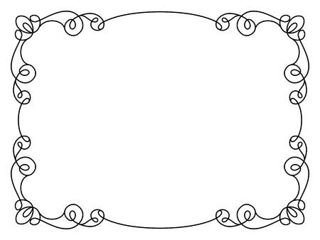 Kalligrafische rechthoek frame, eenvoudige frame ornament, decoratief element in retro-stijl, certificaat of uitnodiging template op wit Stock Illustratie