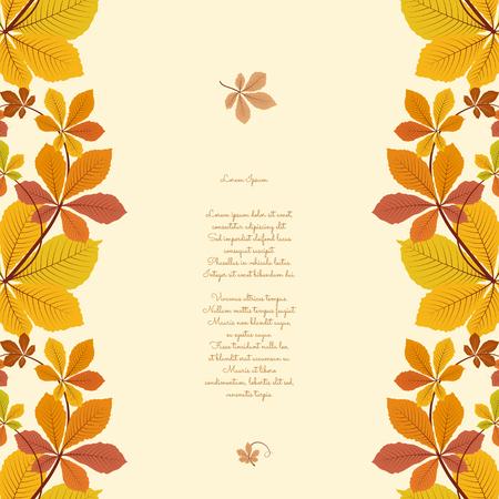 Fondo abstracto del otoño, ornamento frontera transparente con coloridas hojas de castaño, hojas amarillas de otoño, fondo de temporada