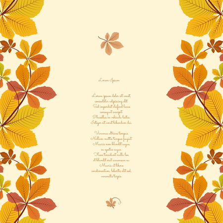 castaas: Fondo abstracto del otoño, ornamento frontera transparente con coloridas hojas de castaño, hojas amarillas de otoño, fondo de temporada