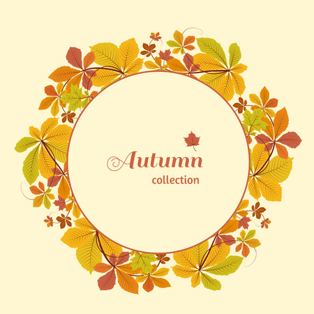 leaves frame: Abstract autumn background, circle frame with colorful chestnut leaves, yellow autumn leaves, seasonal background