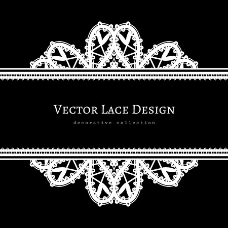 tatting: Black and white background with lace borders, divider, header, tatting lace, ornamental lacy frame template Illustration