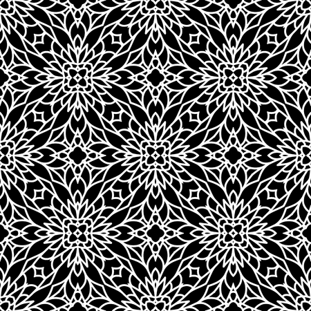 black background abstract: Abstract black and white ornament, lace texture, seamless pattern Illustration