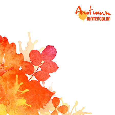Autumn leaves, watercolor foliage background Ilustração