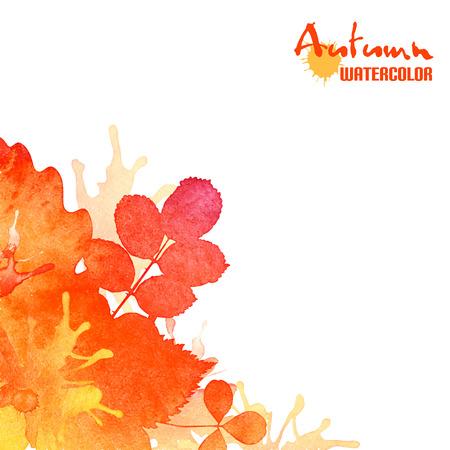 Autumn leaves, watercolor foliage background Stock Illustratie