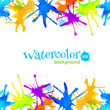 splatter paint: Abstract watercolor background with splatter, header, decorative frame with borders of colorful blots