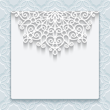 cutout: Elegant save the date card with lace decoration, vintage wedding invitation or announcement template