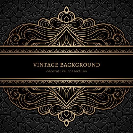 glossy: Vintage gold background, divider, header, ornamental lacy frame